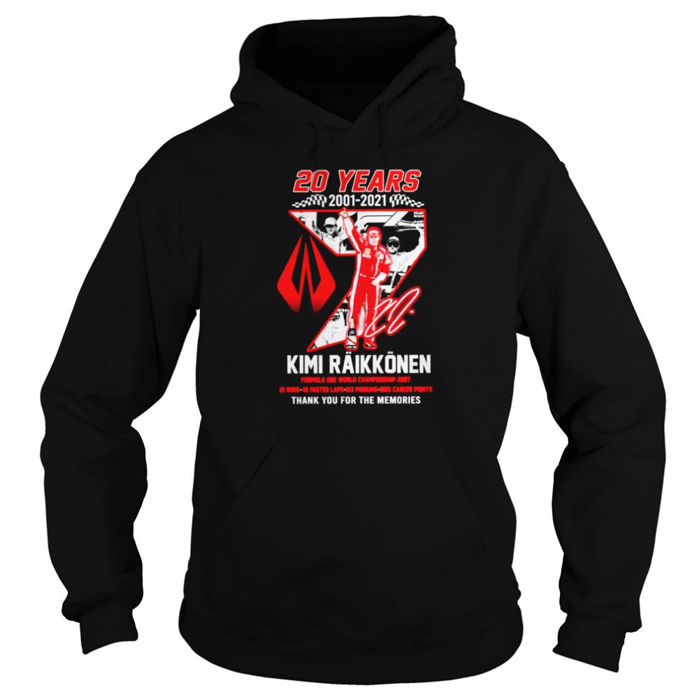 20 years 2001 2021 kimi raikkonen formula one championship 2007 thank you for the memories shirt Unisex Hoodie