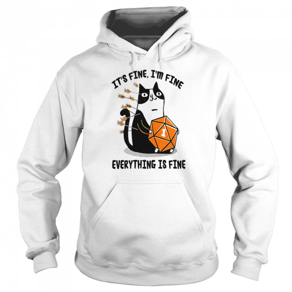 Cat It's fine i'm fine everything is fine shirt Unisex Hoodie