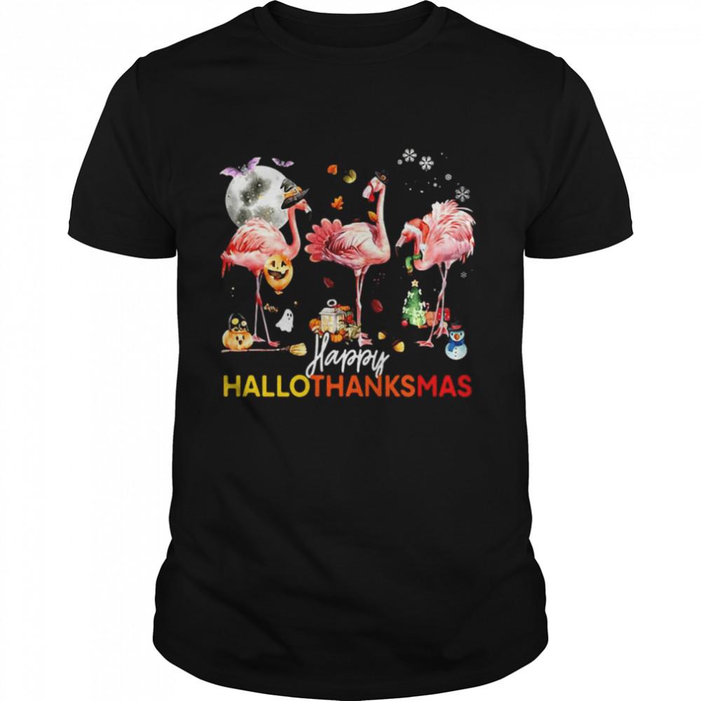 Flamingo Happy Halloween Thanksgiving Christmas T-shirt