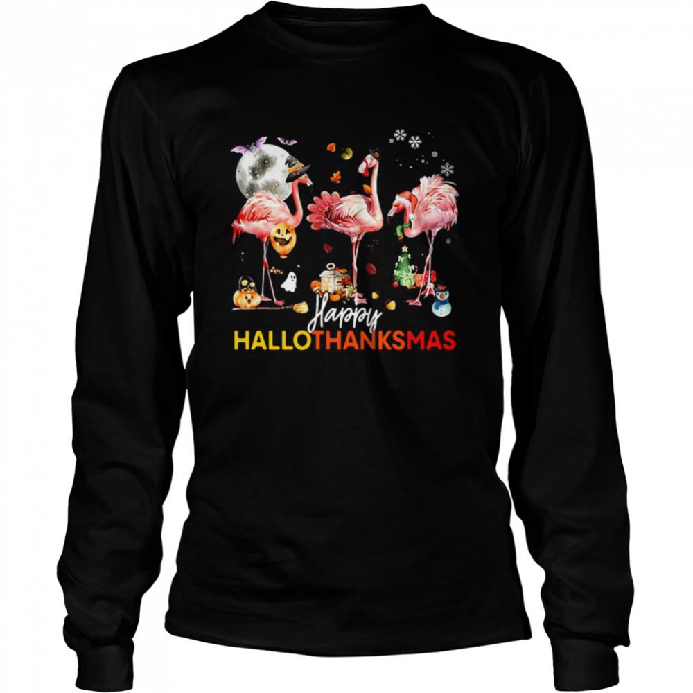 Flamingo Happy Halloween Thanksgiving Christmas T-shirt Long Sleeved T-shirt