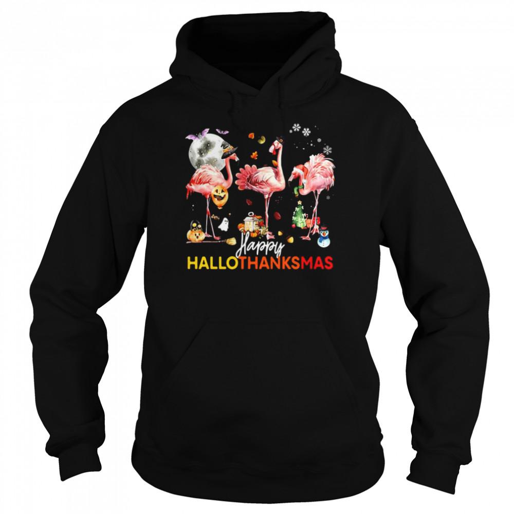 Flamingo Happy Halloween Thanksgiving Christmas T-shirt Unisex Hoodie