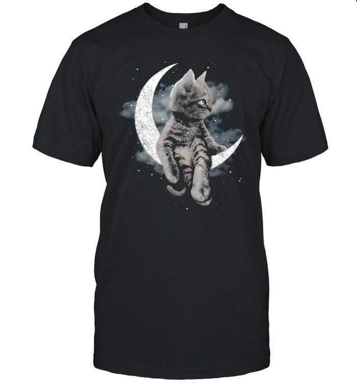 Cat sitting on the moon shirt