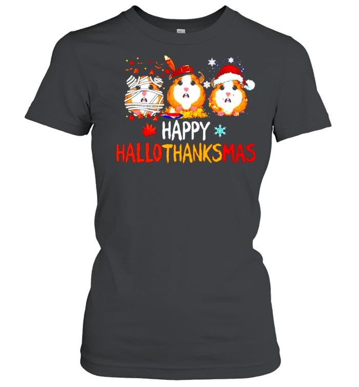 Guinea pig happy Hallothanksmas Halloween Thanksgiving Christmas shirt Classic Women's T-shirt