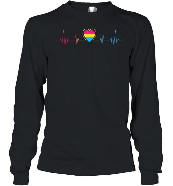 Heartbeat Pan Pride Flag LGBT Pansexual shirt Long Sleeved T-shirt