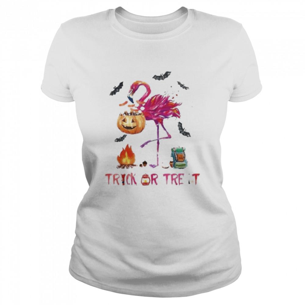 Flamingo Halloween trick or treat shirt Classic Women's T-shirt