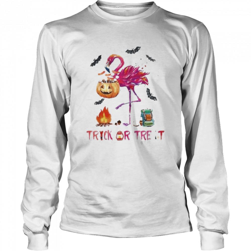 Flamingo Halloween trick or treat shirt Long Sleeved T-shirt