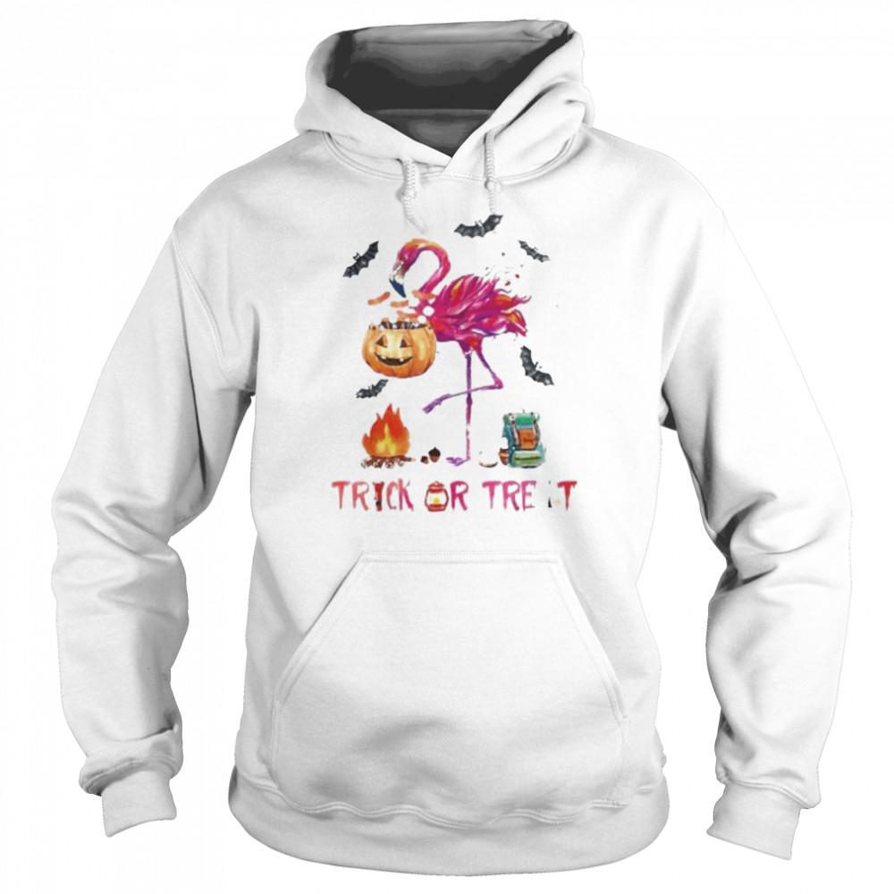 Flamingo Halloween trick or treat shirt Unisex Hoodie