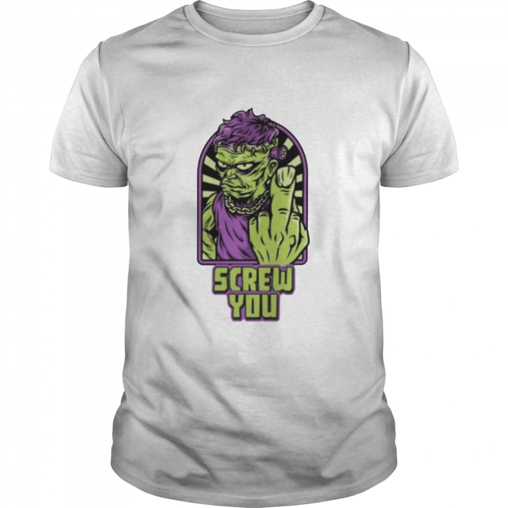 Frankenstein Halloween screw you shirt Classic Men's T-shirt