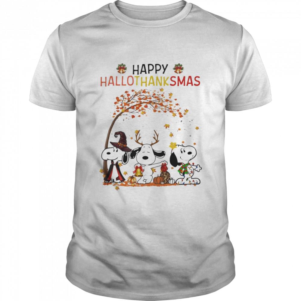 snoopy Witch Rainbow Pumpkin Happy Hallothanksmas shirt Classic Men's T-shirt