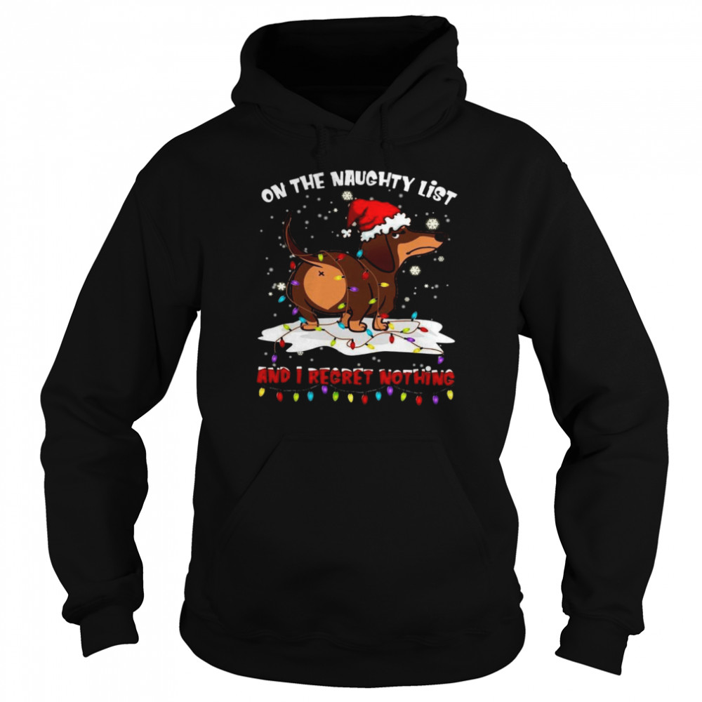 Dachshund On The Naughty List And I Regret Nothing Unisex Hoodie