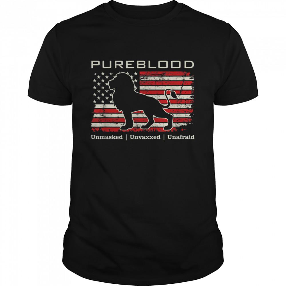 Pureblood Movement #Pureblood Medical Freedom Lion USA Flag  Classic Men's T-shirt