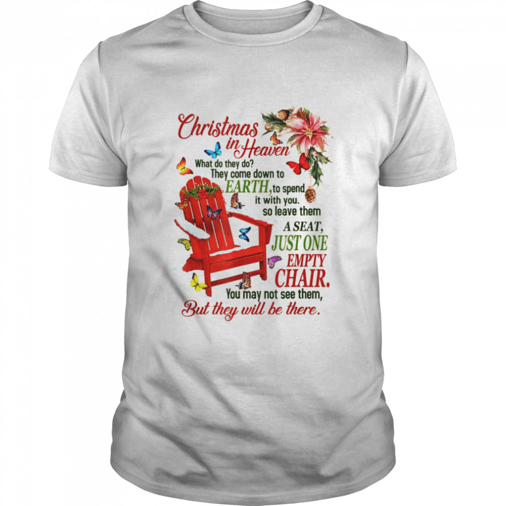 Christmas in Heaven' Poem with Rocking Chair and Butterflies Shirt