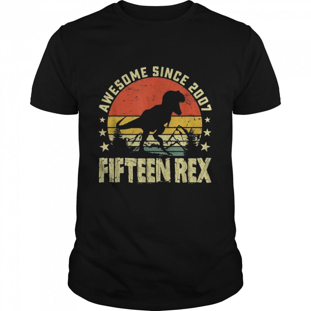 Kids 15th Birthday Awesome 2007 Fifteen Rex Boys Dinosaur  Classic Men's T-shirt