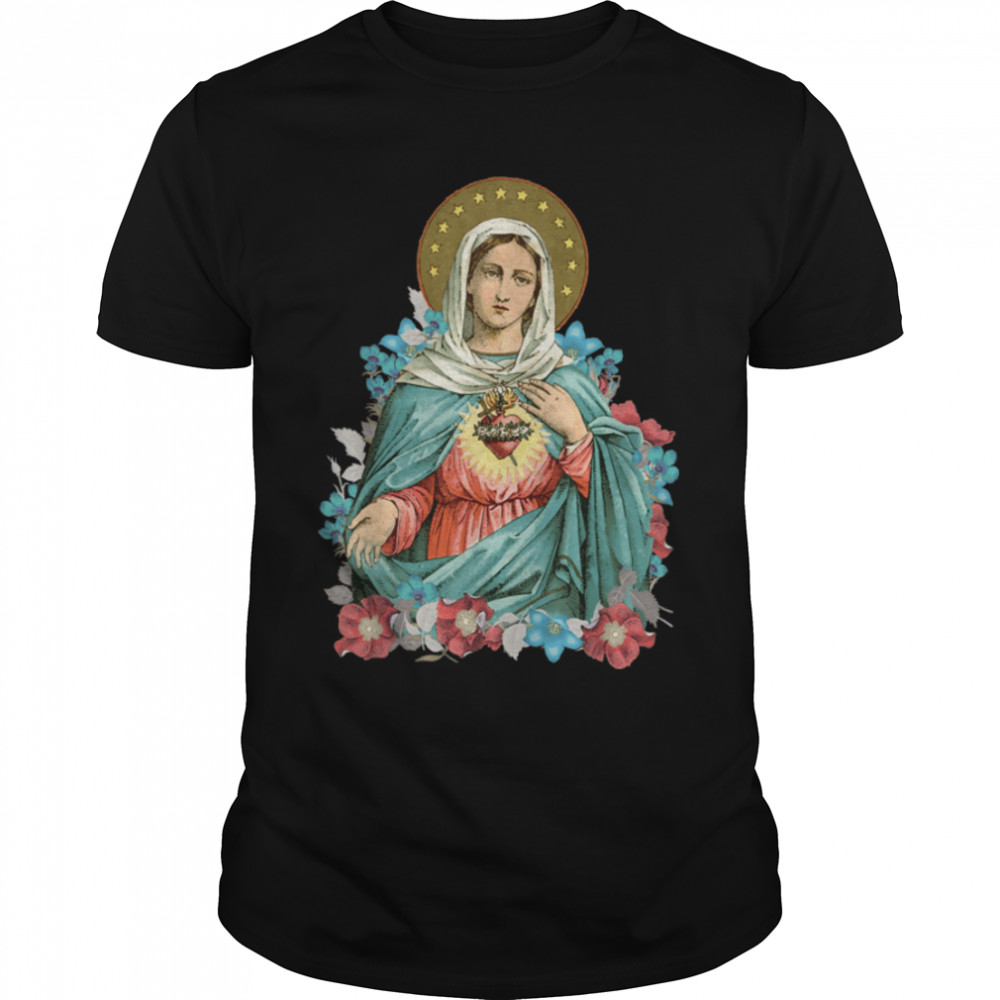 Immaculate Heart of Mary Our Blessed Mother Catholic Vintage T-Shirt B09JWZBVND